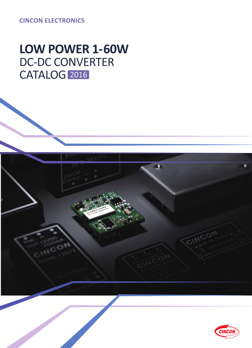 Couverture catalogue Cincon DC-DC 1 à 60W